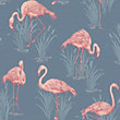 Lagoon Wallpaper - Grey & Coral