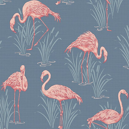 Image for Lagoon Wallpaper - Grey & Coral from StoreName