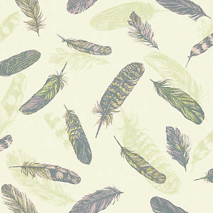 Image for Plume Wallpaper - Pink & Green from StoreName