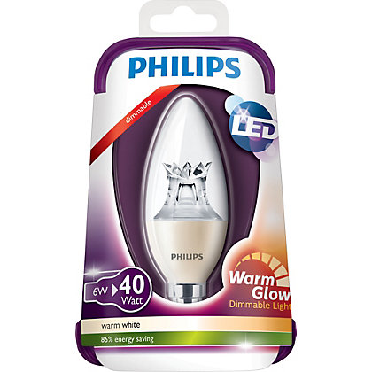 Image for Philips LED Dimmable Candle SES 5W Bulb from StoreName