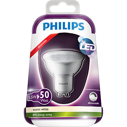 Image for Philips LED Dimmable GU10 5W Bulb from StoreName
