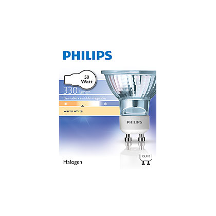 Image for Philips Halogen GU10 50W Bulb - Pack of 3 from StoreName