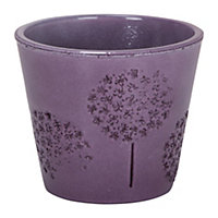 Purple Allium Embossed Pot - 13cm