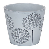 Grey Allium Embossed Pot - 15cm