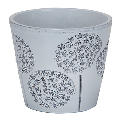 Image for Allium Embossed Pot in Grey - 15cm from StoreName
