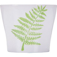 White & Green Botanic Fern Leaf Pot - 15cm