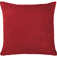 Luxury Chenille Cushion - Red - 50cm