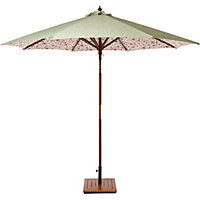 Country Floral Wooden Parasol - 2.7m