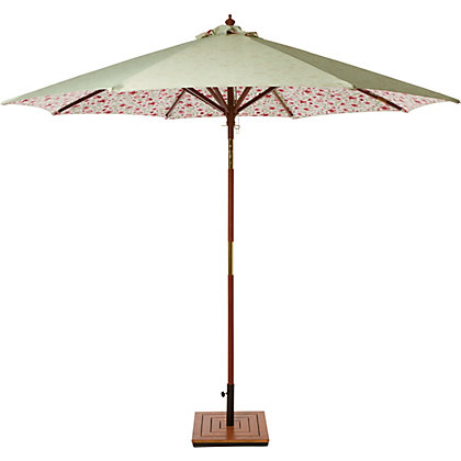 country floral wooden parasol. Black Bedroom Furniture Sets. Home Design Ideas