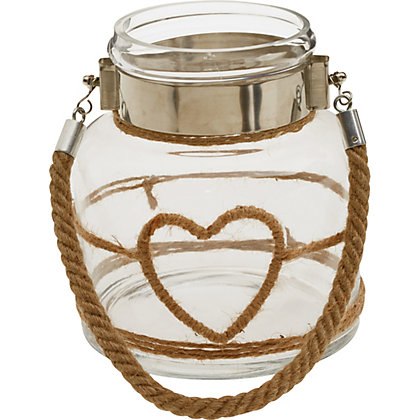 Image for Rope Heart Glass Lantern from StoreName