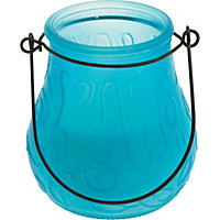 Glass Frosted Candle - Teal