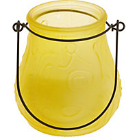 Glass Frosted Candle - Yellow