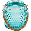 Blue Embossed Glass Lantern