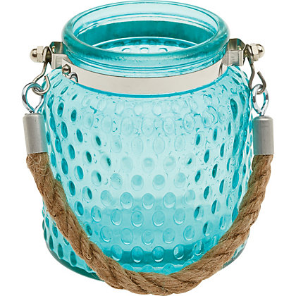Image for Blue Embossed Glass Lantern from StoreName