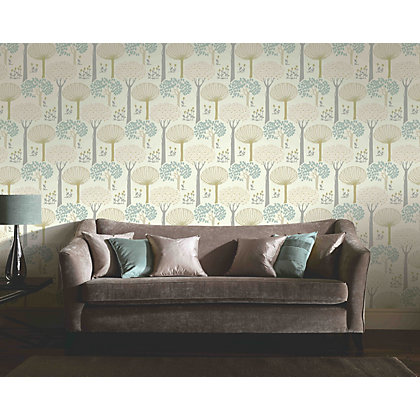 Image for Arthouse Vintage Bernwood Wallpaper - Teal from StoreName