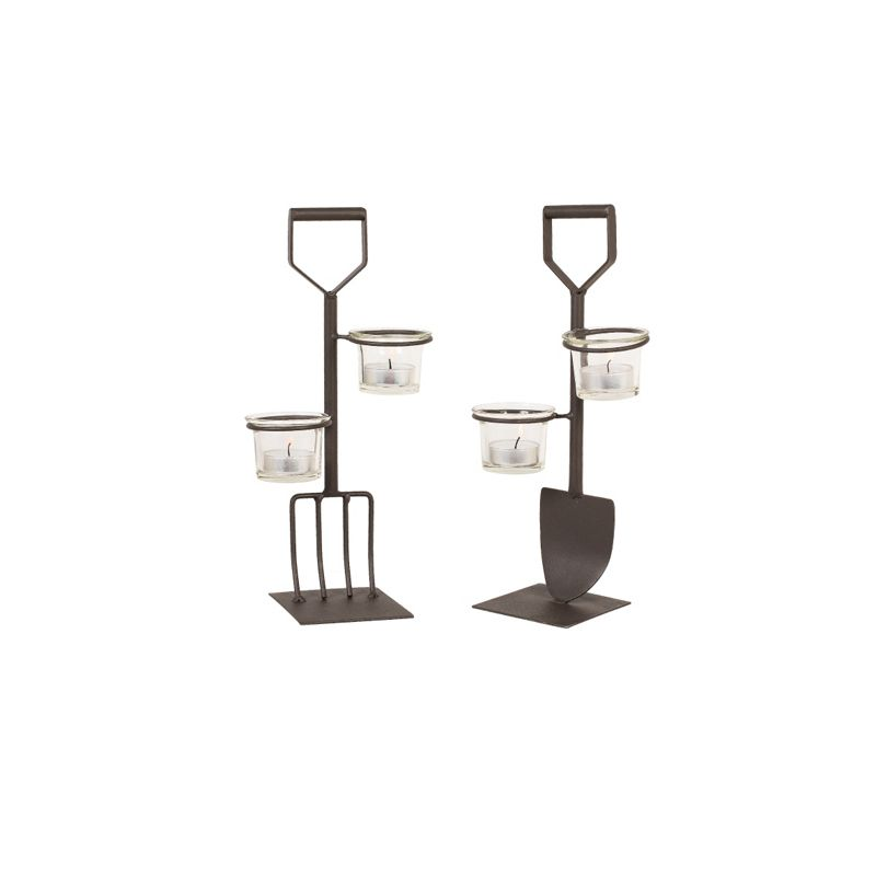 Fork and spade tea light holder set for Garden fork and spade set