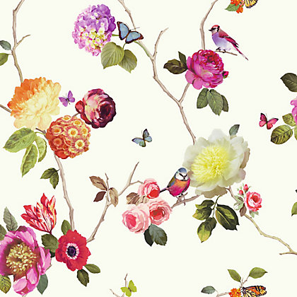 Image for Charmed White Multicoloured Wallpaper from StoreName