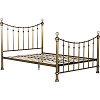 Schreiber Oborne Brass and Crystal Metal Double Bed