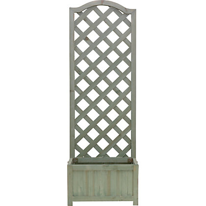 Image for Country Lattice Wooden Planter - Sage Green from StoreName