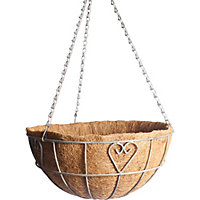 Charlotte Heart Metal Hanging Basket with Coco Liner