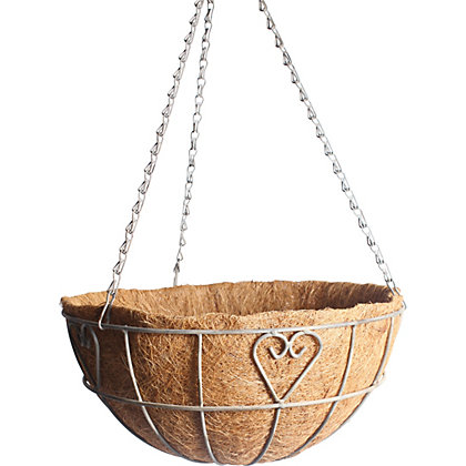 Image for Charlotte Heart Metal Hanging Basket with Coco Liner from StoreName
