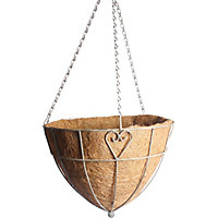 Charlotte Heart Metal Hanging Cone Basket with Coco Liner - 35cm