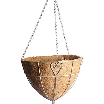 Image for Charlotte Heart Metal Hanging Cone Basket with Coco Liner - 35cm from StoreName