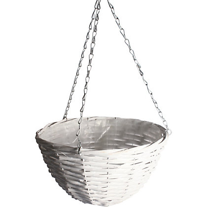 Image for Rustic Retreat Hanging Basket - White from StoreName
