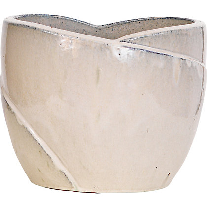 Image for Tulip Glazed Ceramic 37cm Planter - Cream from StoreName