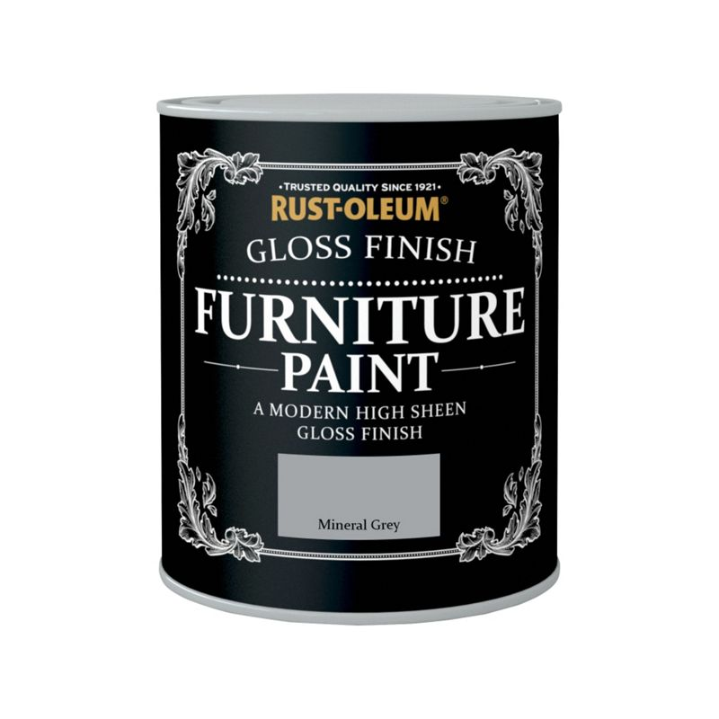 Rust Oleum Gloss Furniture Paint Mineral Grey 750ml
