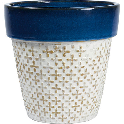 Image for Moroccan Deep Blue Terracotta Planter - 2 Designs Available from StoreName