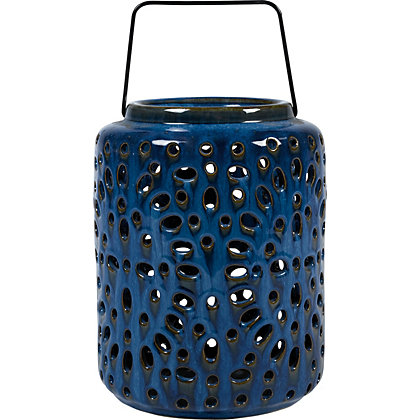 Image for Paradise Deep Blue Glazed Ceramic Lantern from StoreName