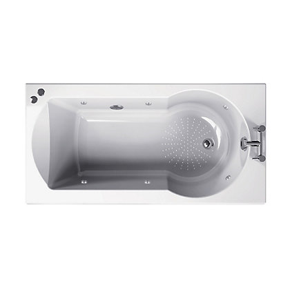 Image for Buttermere Straight Shower Bath - 1500 - Silver Whirlpool from StoreName