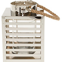 Stainless Steel Lantern With Rope Handle - Medium