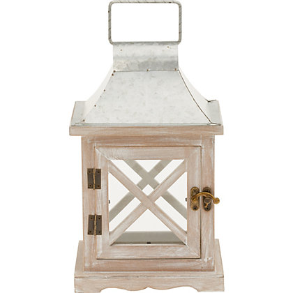 Image for White Wash Wood Lantern - Small from StoreName