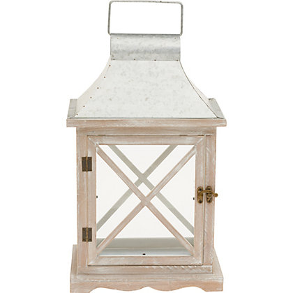 Image for White Wash Wood Lantern - Medium from StoreName