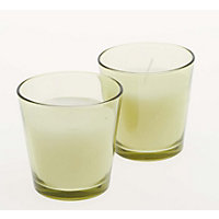 Pack of 2 Coloured Glass Candles - Soft Green