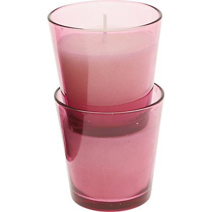 Image for Pack of 2 Coloured Glass Candles - Light Red from StoreName
