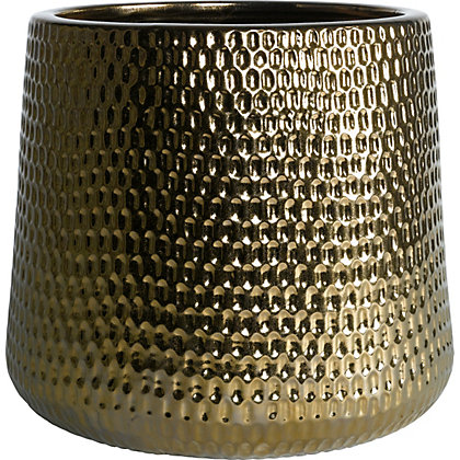 Image for Luxor Glazed Ceramic Planter in Gold - 42cm from StoreName