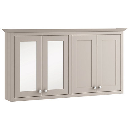 Image for Schreiber Breeze Mirrored Wall Cabinet and Wall Unit - Light Grey from StoreName