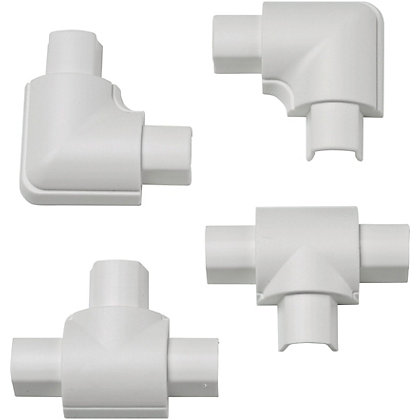 Image for D-Line Micro 16x8mm White Equal Tee & Flat Bend Accessory Pack from StoreName