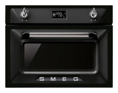 Image of Smeg Black Compact Combi Steam Oven - 45cm