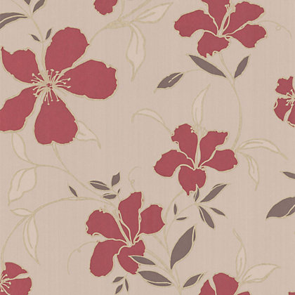 Superfresco Easy Rapture Wallpaper Red And Beige