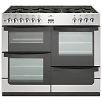 New World Vision Dual Fuel Range Cooker - Stainless Steel - 100cm