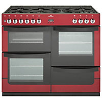 New World Vision Dual Fuel Range Cooker - Red - 100cm