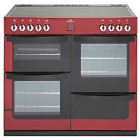 New World Vision Electric Range Cooker - Red - 100cm