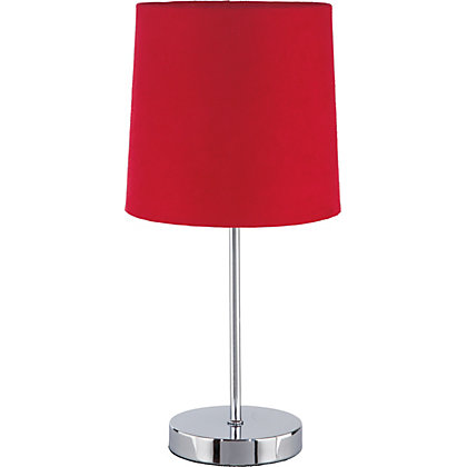 Image for Touch Faux Suede Table Lamp - Red - 38.5cm from StoreName