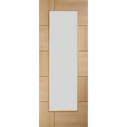 Image for Devizes Clear Glass Oak Internal Door - 762mm Wide from StoreName