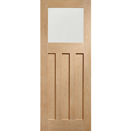 Image for DX Glazed Panelled Traditional Oak Internal Door - 762mm Wide from StoreName