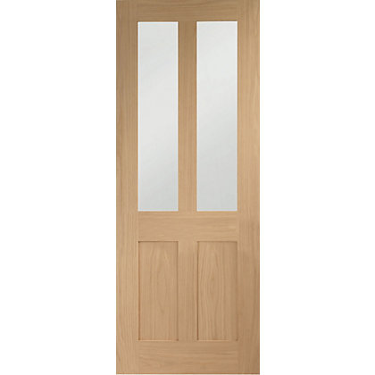 Image for London 2 Glazed Shaker Oak Internal Door - 686mm Wide from StoreName